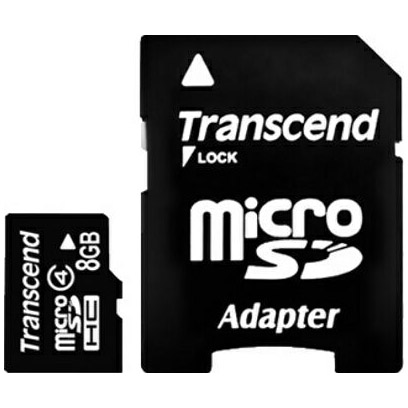 Micro SD Карта памяти microSD Transcend 8 Gb microSDHC, производитель Transcend Information, Inc. (Тайвань) - фото №1