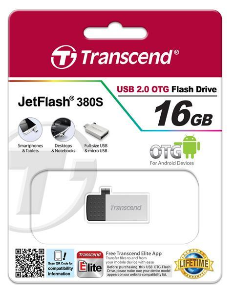 Flash-память USB Накопитель USB Transcend JetFlash OTG 380 16GB Metal, производитель Transcend Information, Inc. (Тайвань) - фото №1