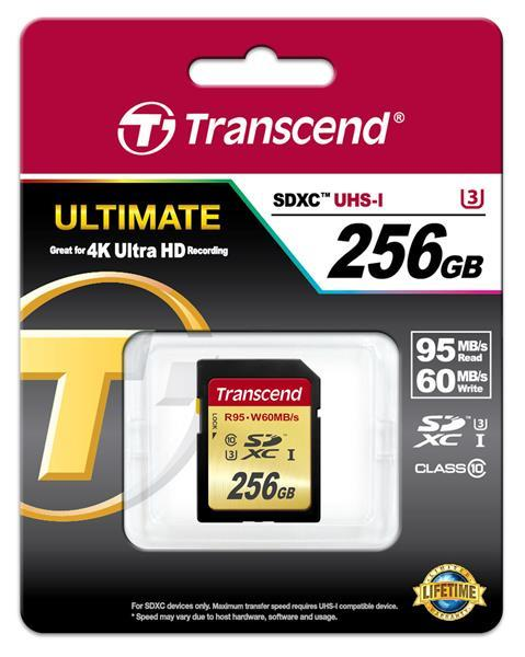 CompactFlash Transcend Ultimate SDXC 256GB Class 10 UHS-I U3 R95-W65MB, производитель Transcend Information, Inc. (Тайвань) - фото №1