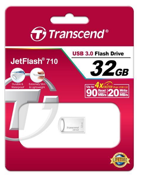 Flash-память USB Накопитель USB Transcend JetFlash 710 32GB Metal Silver, производитель Transcend Information, Inc. (Тайвань) - фото №1