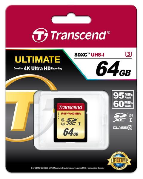 CompactFlash Transcend Ultimate SDXC 64GB Class 10 UHS-I U3 R95-W60MB, производитель Transcend Information, Inc. (Тайвань) - фото №1