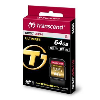 CompactFlash Transcend Ultimate SDXC 64GB Class 10 UHS-I U3 R95-W85MB, производитель Transcend Information, Inc. (Тайвань) - фото №1