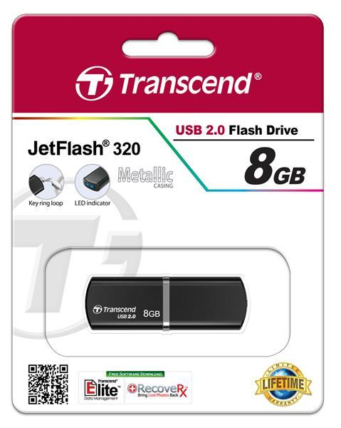 Flash-память USB Накопитель USB Transcend JetFlash 320 8GB Metal Black, производитель Transcend Information, Inc. (Тайвань) - фото №1