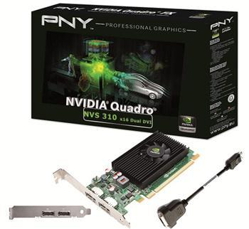 Видеокарты Видеокарта PNY NVS 310 512MB DDR3 2xDP low profile, производитель PNY - фото №1